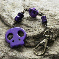 SALE - Purple Howlite Skull Bag Charm