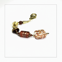 OOAK Brown & Gold Beads Bag Charm, Key Ring, Hanging Charm, Purse Charm, Gift