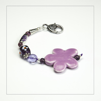 OOAK Purple Flower, Beads Bag Charm, Key Ring, Hanging Charm, Purse Charm, Gift