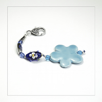 OOAK Blue Flower, Beads Bag Charm, Key Ring, Hanging Charm, Purse Charm, Gift