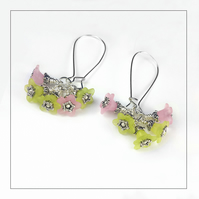 Pale Pink and Green Lucite Flower and Silver Earrings