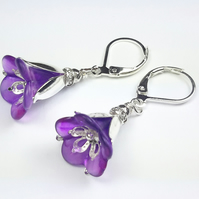 Purple Lucite Flower and Silver Earrings