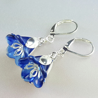 Blue Lucite Flower and Silver Earrings