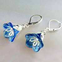 Sky Blue Lucite Flower and Silver Earrings