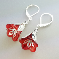 Red Lucite Flower and Silver Earrings