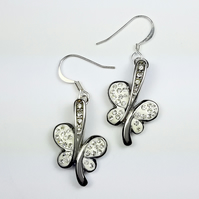 Silver and White Butterfly Earrings
