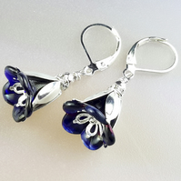 Dark Blue Lucite Flower and Silver Earrings
