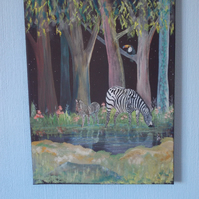 Zebra mother and foal by the water, gouache on acrylic canvas painting