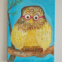 Wally Owl,gouache on acrylic canvas painting