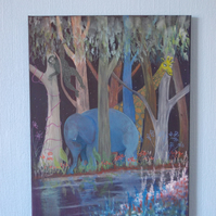 Elephant, monkey and Giraffe by the river gouache on acrylic canvas painting