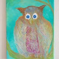 Jeremiah Owl gouache on acrylic canvas painting