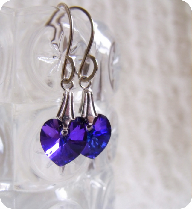 Purple Peart  Earrings,Swarovski Crystal Handmade and Sterling Silver