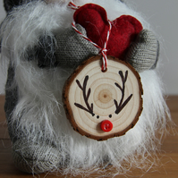Handmade Wooden Rudolph Christmas Decoration