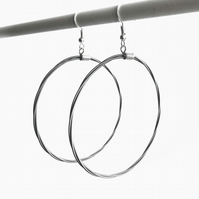 Guitar String Hoop Earrings Large Silver