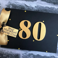 Personalised 80th Birthday Black Gold Guest Book Memory Scrapbook Photo Album