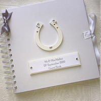 Personalised 8x8 Wedding Guest Book Horseshoe Memory Book Scrapbook Photo Album