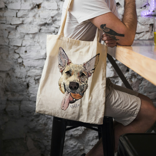 Dog Printed Tote, Pet Custom Bag, Pet Printed Bag, Custom Tote Bag, toPet Lovers