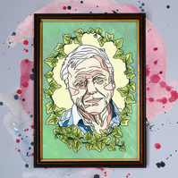David Attenborough Watercolour Print