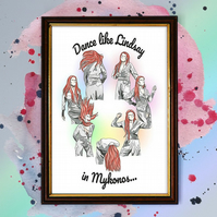 Lindsay Lohan - Mykonos Dance Watercolour Print