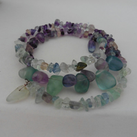 Flourite Chips and Nugget Memory Wire Bracelet