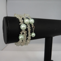 White Topaz and Dyed Shell Pearl Memory Wire Bracelet
