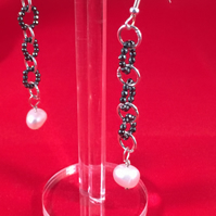8x7mm Fresh water Cultured pearls with Haematite Earrings