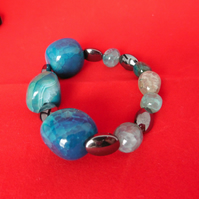 Beautiful Statement Stretchy Bracelet Featuring Large Blue Agate, Haematite