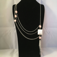 Rose Quartz A-Symmetric Necklace and Earring Set