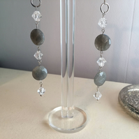 Long Labradorite Earrings - Clear Quartz - Dangle Earrings