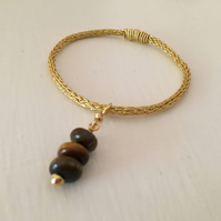 Gold Plated Tigers Eyes Bangle - Viking Knit