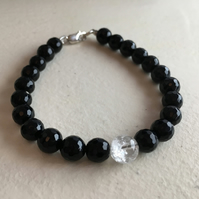 Onyx Bracelet - 925 Sterling Silver - Crackled Quartz - Little Black Dress