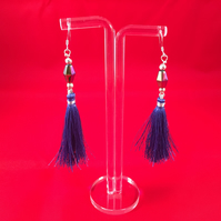 Fun Tassel Mystic coated Heamatite Earrings Featuring 925 Sterling Silver