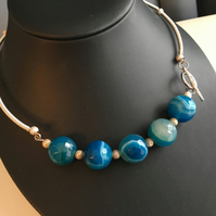 Blue Striped Agate Torque Necklace - Roundels - Choker - Silver Plated