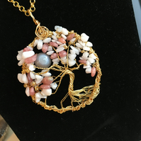 Long Gold Plated Gemstone Tree of Life