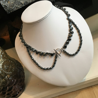 Peter Pan Style Necklace Featuring Haematite Gemstones