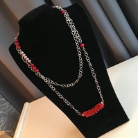 Extra Long Silver and Red Necklace Chain - Longline - Red Coil