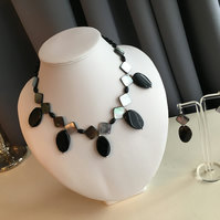 Apollo Necklace Suite - Black onyx, Mother of Pearl, Black Agate