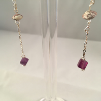 Amethyst and Cloudy Amethyst 925 Sterling Silver Drop Earrings