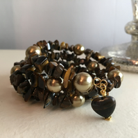 Tigers Eye, Gold Shell Pearl Memory Wire Bracelet, Featuring a Heart Shaped Tige