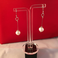 925 Sterling Silver Fresh Water Cultured Pearl Long Drop Earrings