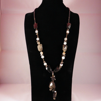 Golden Obsidian, Cloudy Quartz and Pyrite Nuggets, Necklace