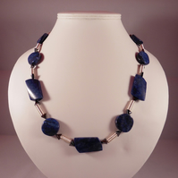 Lapis Lazuli, Heamatite and Wire Coil Necklace and Earring Set