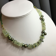 Green Prehnite and Dyed Green Fresh Water Cultured Pearl Necklace - Macrame - Go
