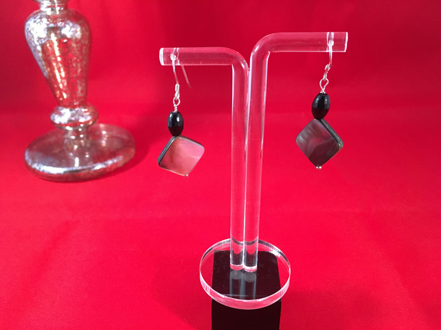 925 Sterling Silver Black Onyx and Mother of Pearl Drop Earrings - Wedding