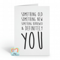 something old something new, BRIDESMAID card, funny bridesmaid card, will you be