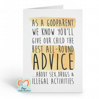 funny godmother card, funny godfather card, funny godparent card, inappropriate