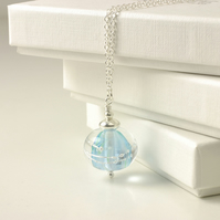 Pale Blue and Silver Lampwork Glass Necklace