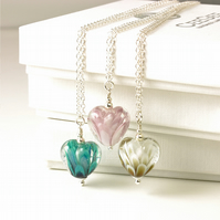 Little Lampwork Glass Heart Necklace