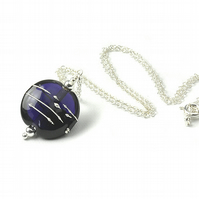 Dark Violet Lampwork Glass Necklace