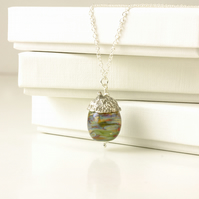 Lampwork Glass and Silver Acorn Necklace